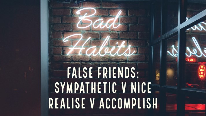 Neon Sign with Bad Habits, False Friends Sympathetic v Nice Realise v Accomplish